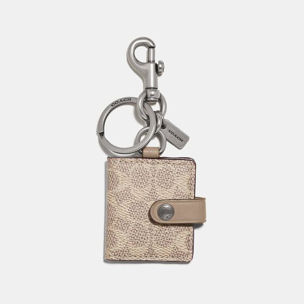 Picture Frame Bag Charm In Signature Canvas, NI/SAND/TAUPE, hi-res