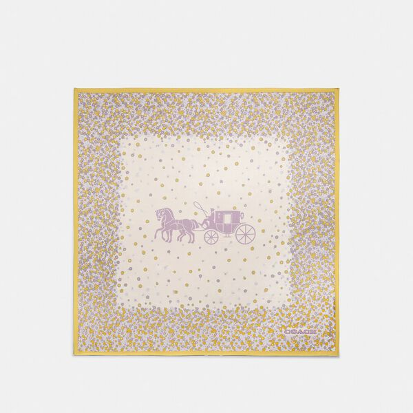 Horse And Carriage Tea Rose Print Silk Square Scarf, SUNLIGHT, hi-res