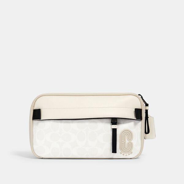 Edge Belt Bag In Signature Canvas, QB/CHALK STEAM, hi-res