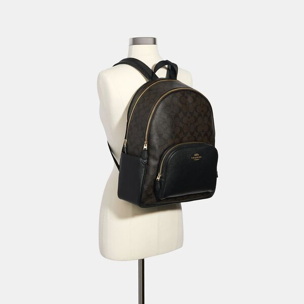 Large Court Backpack In Signature Canvas, IM/BROWN BLACK, hi-res