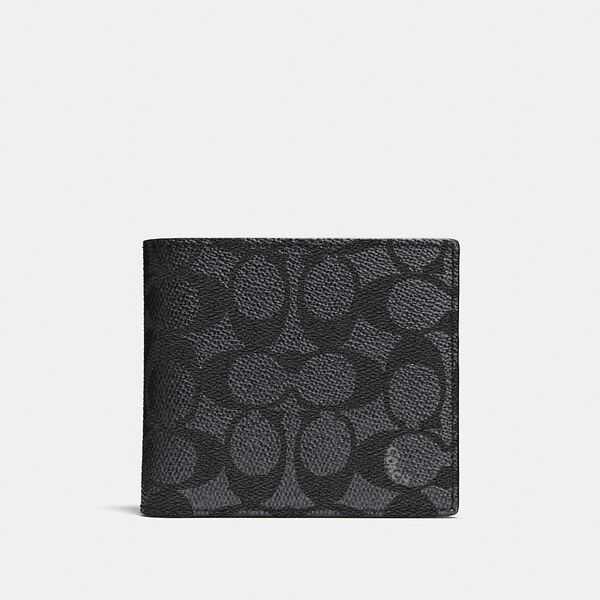 Coin Wallet In Signature Canvas, CHARCOAL, hi-res