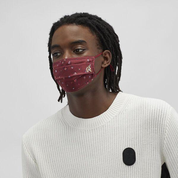 Uni Face Mask With Mini Vintage Rose Print, BURGUNDY, hi-res