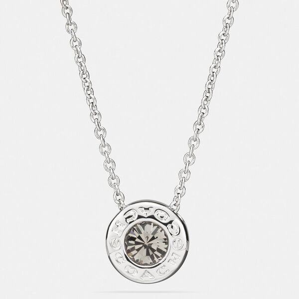 Open Circle Stone Strand Necklace, SILVER, hi-res