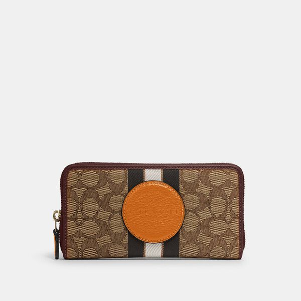 Dempsey Accordion Zip Wallet In Signature Jacquard With Stripe And Coach Patch, IM/KHAKI SUNBEAM MULTI, hi-res