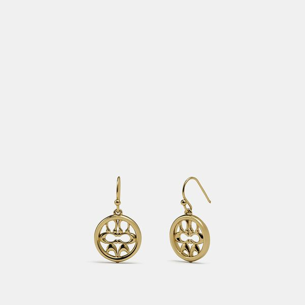Pierced Signature Drop Earrings, GOLD, hi-res
