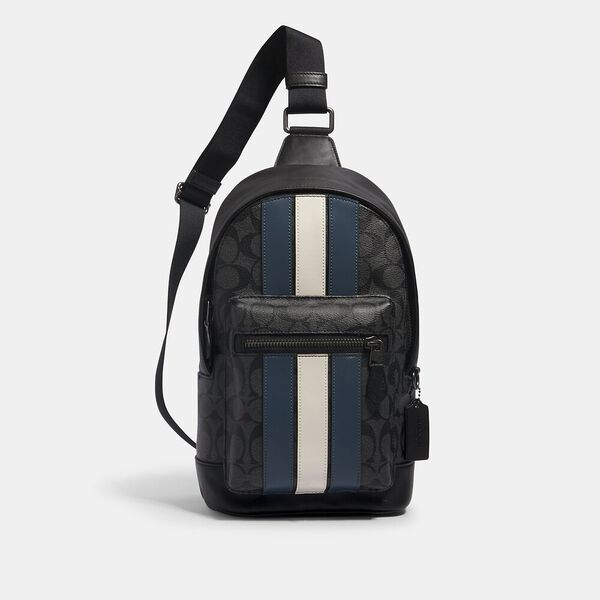 West Pack In Signature Canvas With Varsity Stripe, QB/CHARCOAL/DENIM/CHALK, hi-res