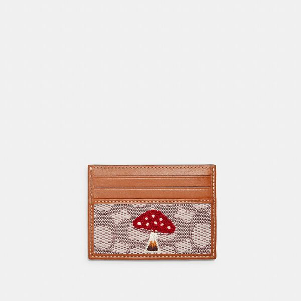 Card Case In Signature Textile Jacquard With Mushroom Motif Embroidery