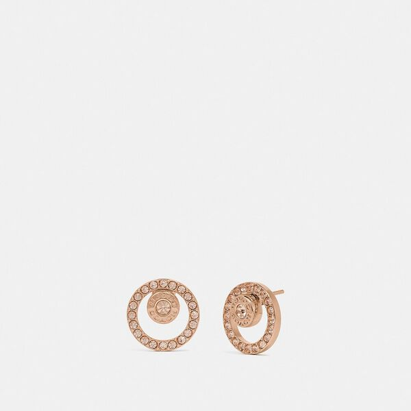 Open Circle Halo Stud Earrings, ROSEGOLD, hi-res