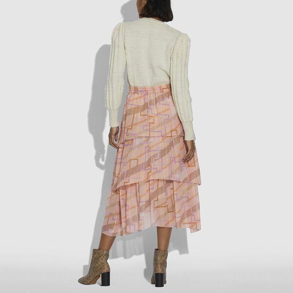 Tiered Midi Skirt, PEACH MULTI, hi-res