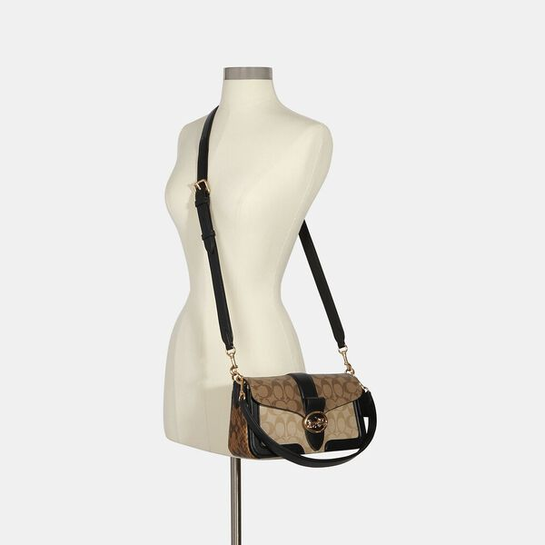 Georgie Shoulder Bag In Blocked Signature Canvas, IM/KHAKI/LT KHAKI/BLACK, hi-res