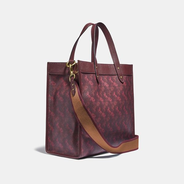 Field Tote With Horse And Carriage Print, B4/OXBLOOD CRANBERRY, hi-res