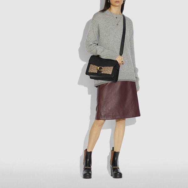 Tabby Shoulder Bag With Signature Canvas, B4/TAN BLACK, hi-res