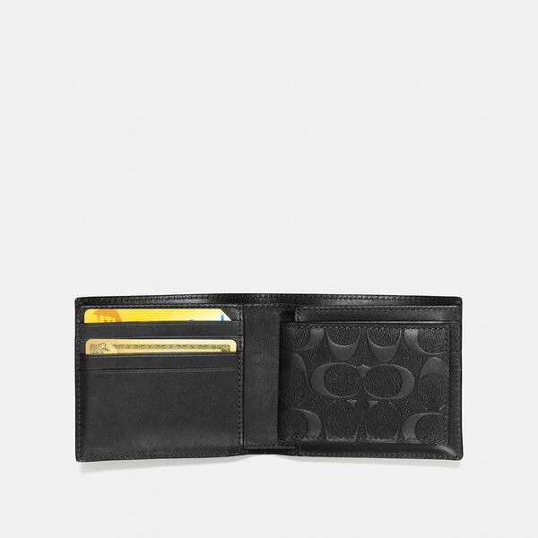 Compact Id Wallet In Signature Leather, BLACK, hi-res