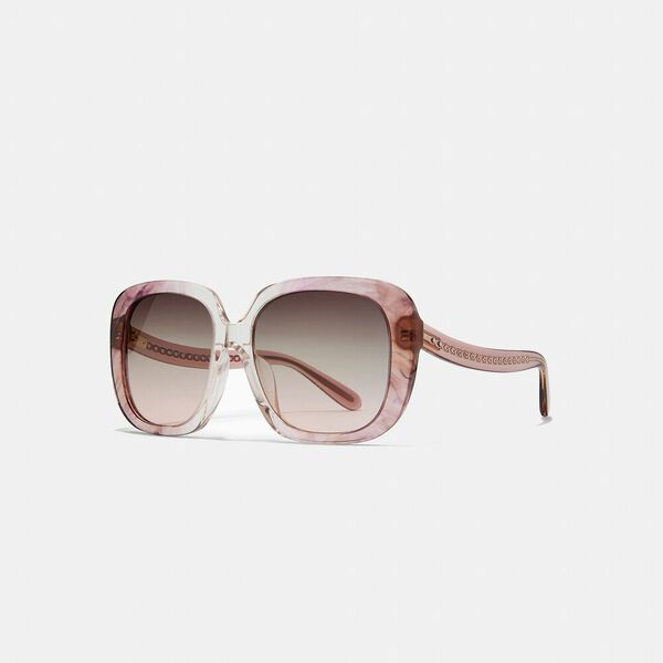 Sculpted Signature Square Frame Sunglasses, TRANSPARENT PINK OMBRE, hi-res