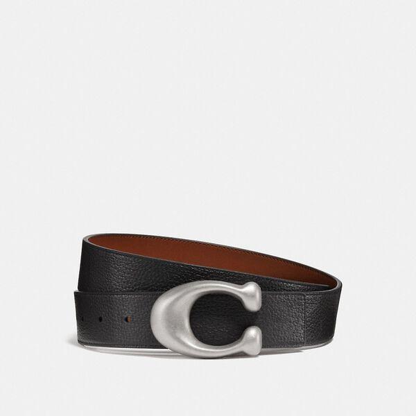 Sculpted Signature Reversible Belt, RL/BLACK/SADDLE, hi-res