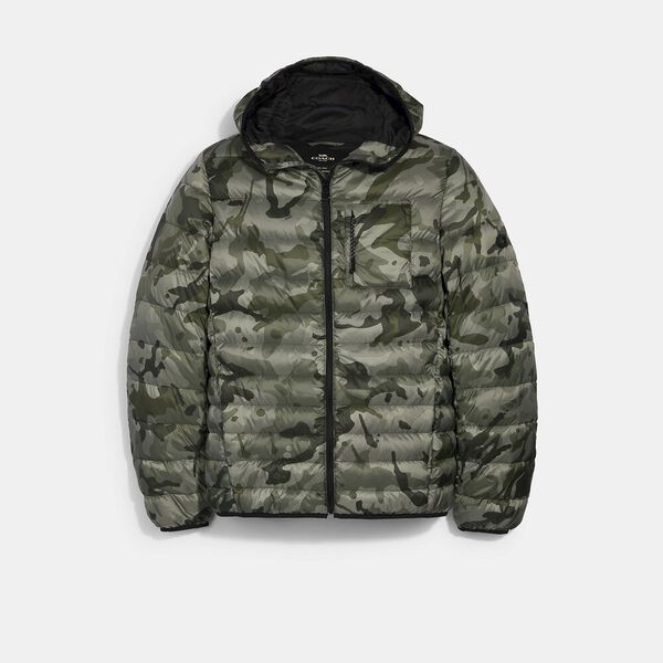 Packable Hooded Down Jacket, OLIVE INK CAMO, hi-res