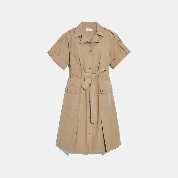 Cotton Tie Waist Shirt Dress, KHAKI, hi-res