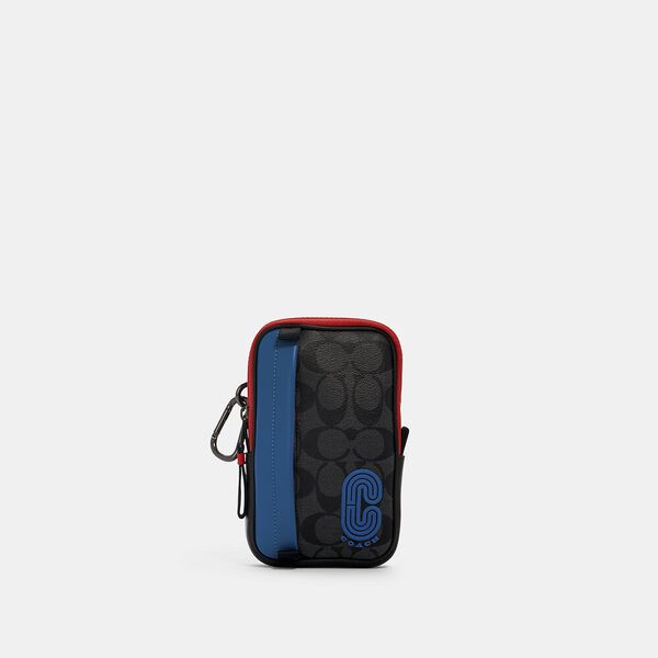 North/South Hybrid Pouch In Colorblock Signature Canvas With Coach Patch, QB/CHARCOAL/ BLUE JAY MULTI, hi-res
