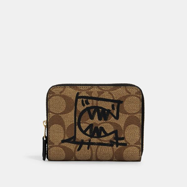 Small Zip Around Wallet In Signature Canvas With Rexy By Guang Yu, IM/KHAKI MULTI, hi-res