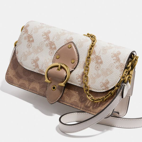 Beat Crossbody Clutch In Signature Canvas With Horse And Carriage Print, B4/CHALK TAN TAUPE, hi-res