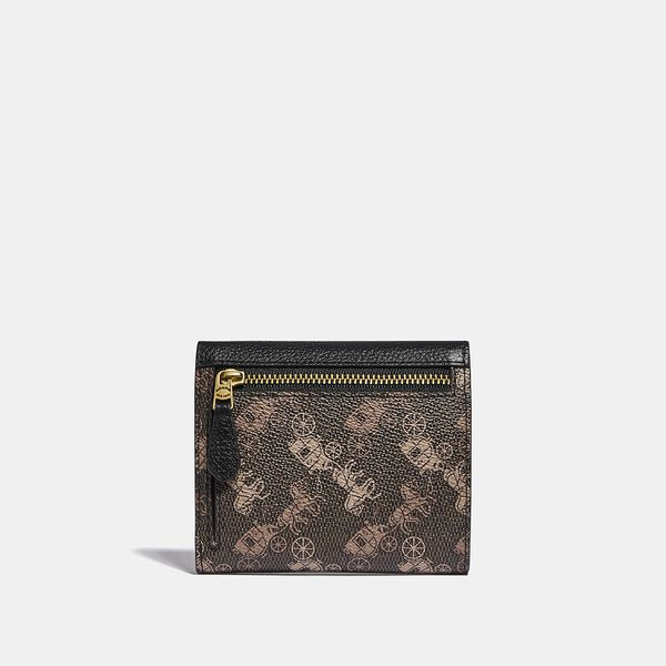 Small Wallet With Horse And Carriage Print, B4/BLACK BROWN, hi-res