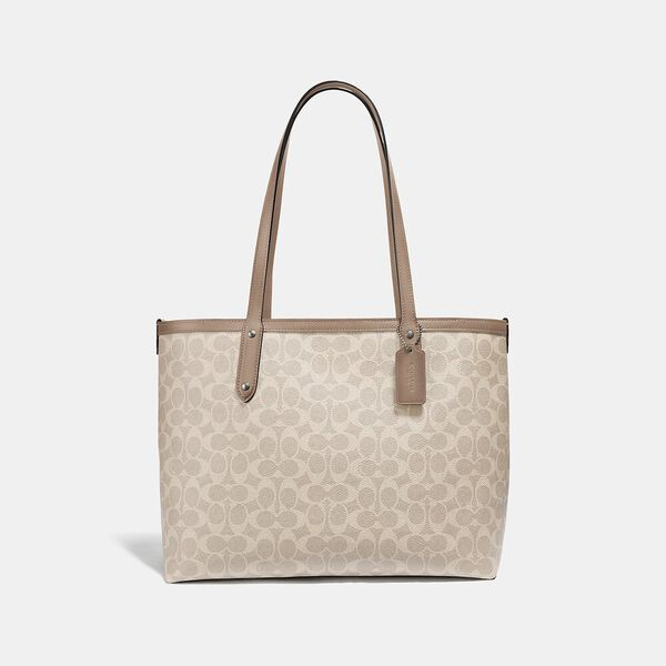 Central Tote With Zip In Signature Canvas, LH/SAND TAUPE, hi-res