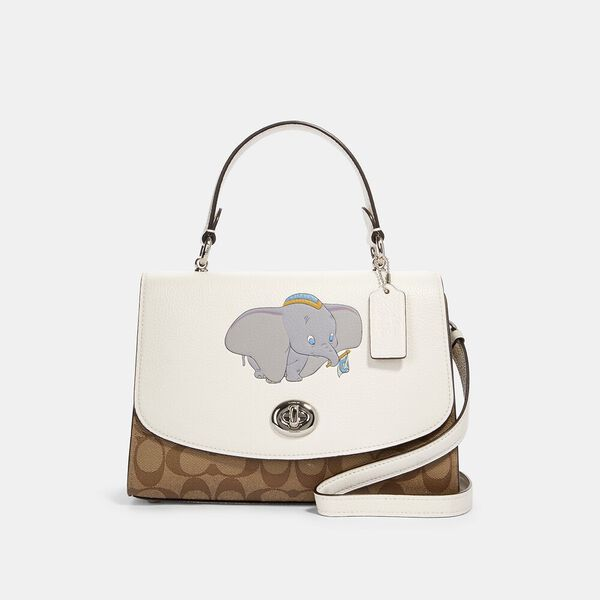 Disney X Coach Tilly Top Handle Satchel In Signature Canvas With Dumbo