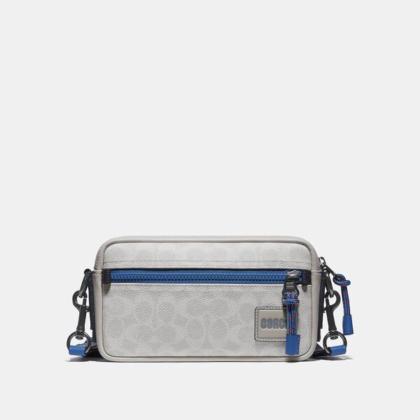 Pacer Slim Pouch In Signature Canvas, CHALK/PACIFIC, hi-res