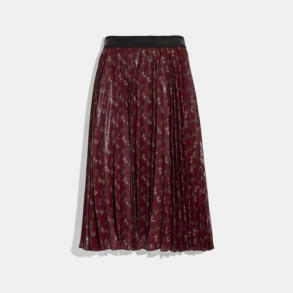 Lunar New Year Horse And Carriage Print Pleated Skirt