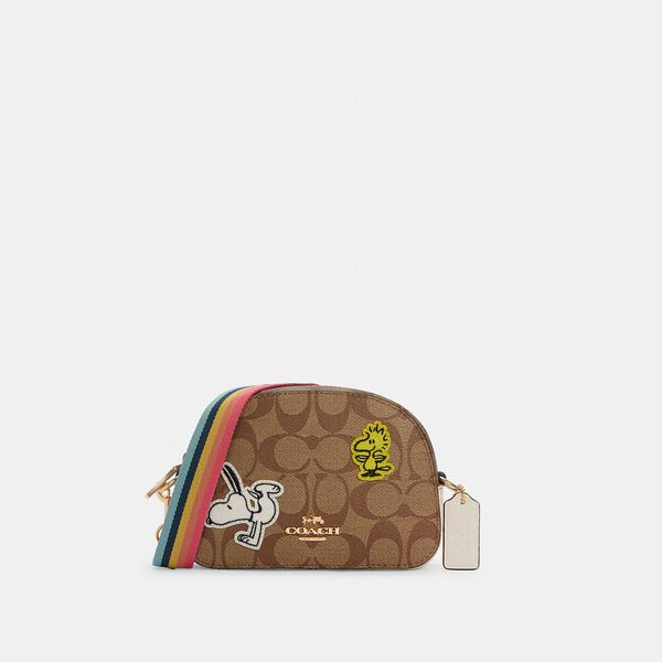 Coach X Peanuts Mini Serena Satchel In Signature Canvas With Varsity Patches