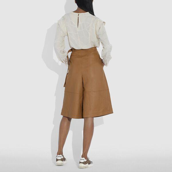 Leather Culottes, PECAN, hi-res