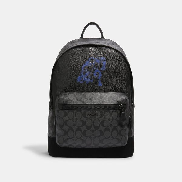 Coach x Marvel West Backpack With Signature Canvas Detail And Black Panther