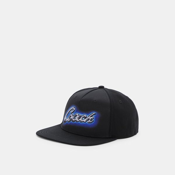 Airbrush Flat Brim Hat, BLACK, hi-res