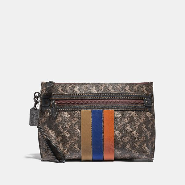 Academy Pouch With Horse And Carriage Print And Varsity Stripe, BROWN/TAN, hi-res