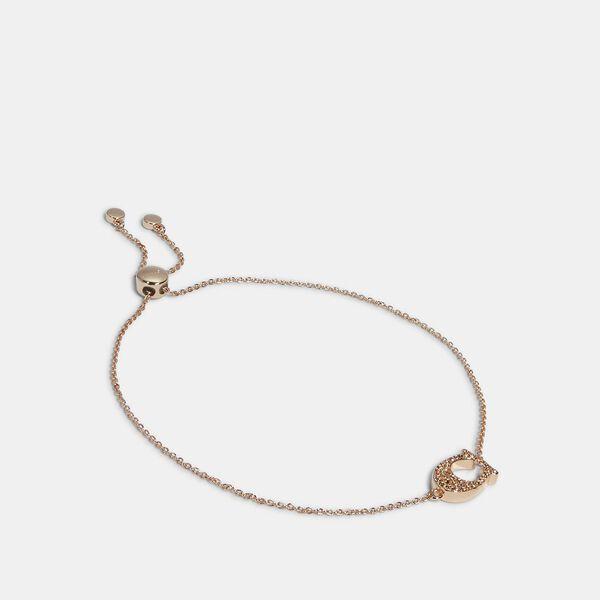 Pave Signature Slider Bracelet, ROSEGOLD, hi-res