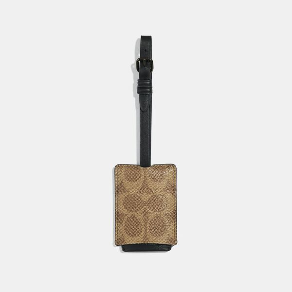 Luggage Tag In Signature Canvas, KHAKI, hi-res