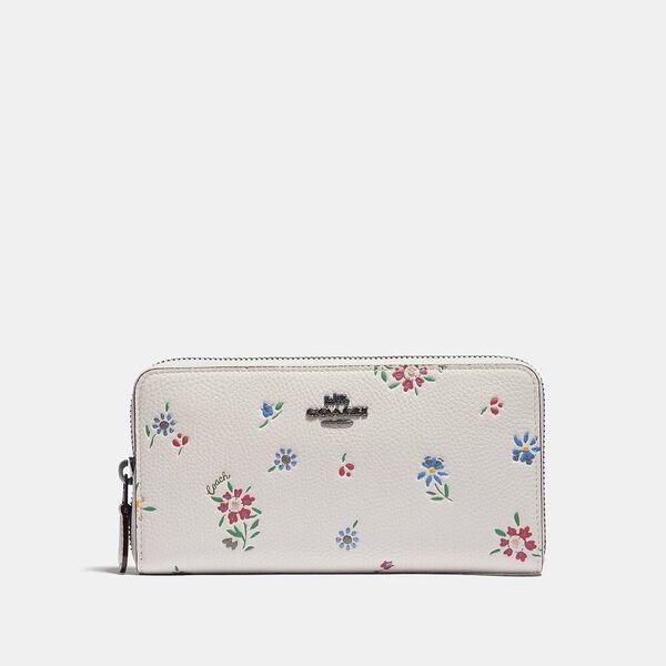 Accordion Zip Wallet With Wildflower Print, V5/CHALK, hi-res