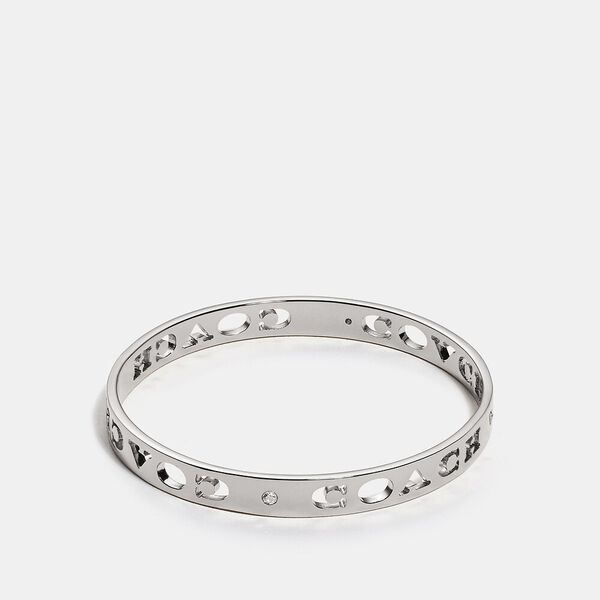 Pierced Coach Bangle, SILVER, hi-res