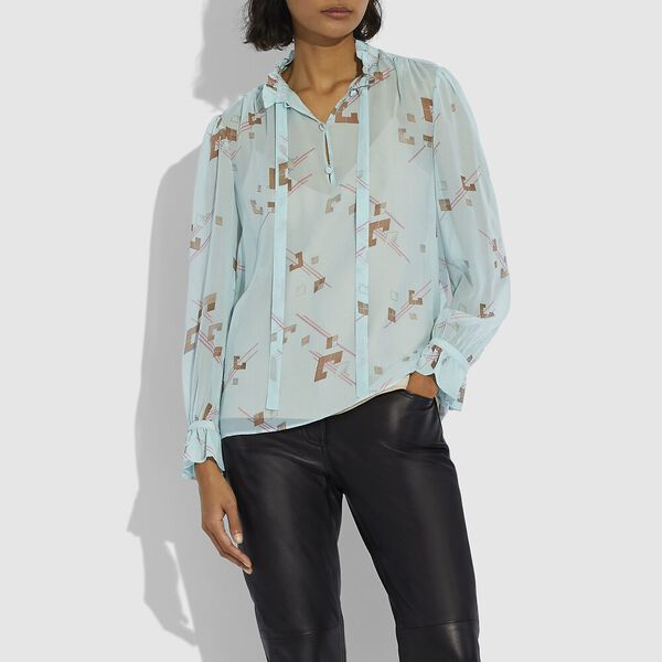 Ruffle Blouse, TURQUOISE/PINK, hi-res