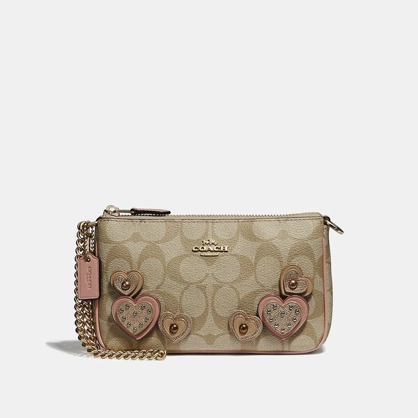 Large Wristlet 19 In Signature Canvas With Heart Applique