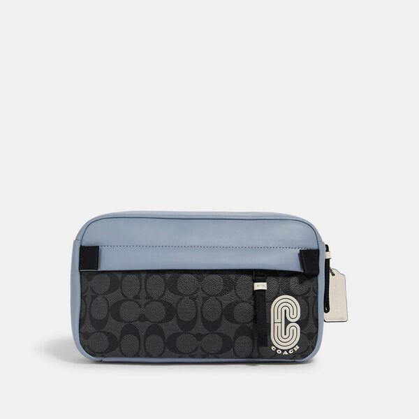 Edge Belt Bag In Colorblock Signature Canvas With Coach Patch, QB/PEBBLE BLUE CHARCOAL, hi-res