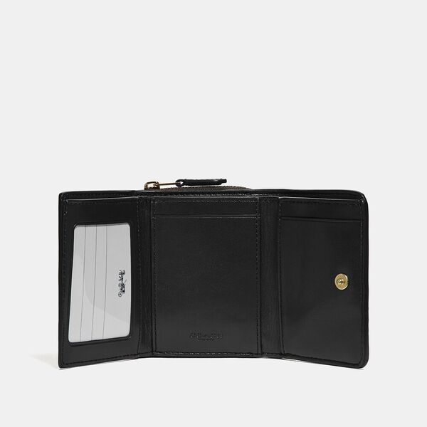 Small Trifold Wallet In Signature Canvas, IM/BROWN/BLACK, hi-res