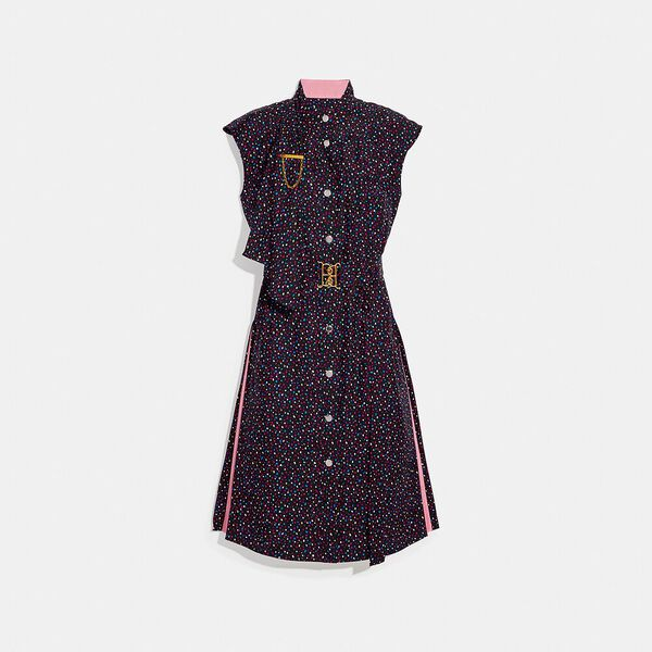 Dot Sleeveless Dress With Belt, BLACK/BLUE, hi-res