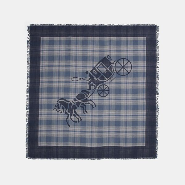 Horse And Carriage Plaid Print Oversized Square Scarf, DENIM, hi-res