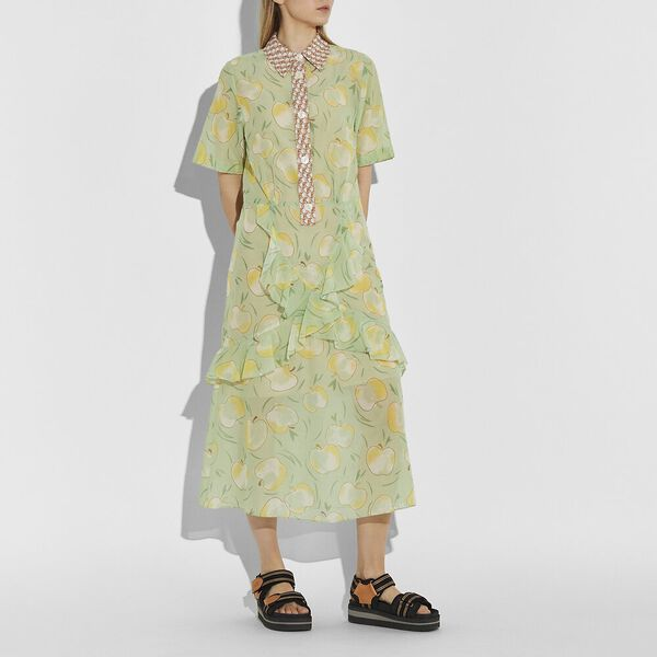 Apple Print Long Ruffle Shirt Dress, MINT/YELLOW, hi-res