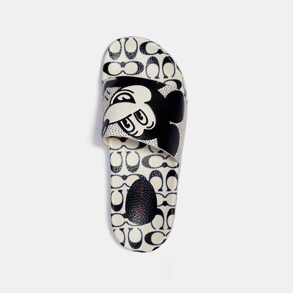 Disney Mickey Mouse X Keith Haring Slide, WHITE/BLACK, hi-res
