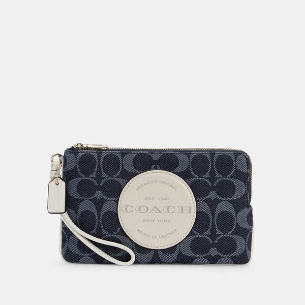 Dempsey Double Zip Wallet In Signature Jacquard With Patch
