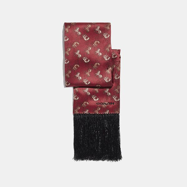 Horse And Carriage Print Silk Wide Skinny Scarf, RED, hi-res