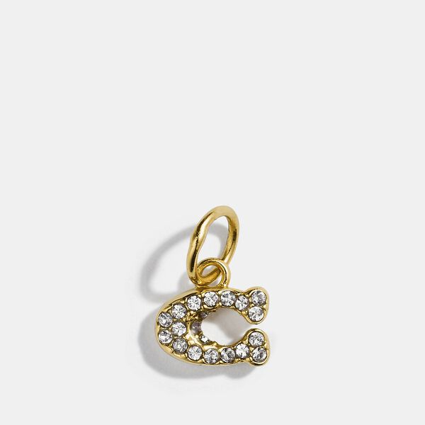 Collectible Pave Signature Charm, GOLD/CLEAR, hi-res