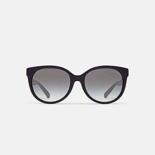Sculpted Signature Round Frame Sunglasses, BLACK, hi-res